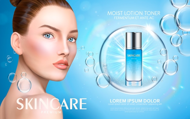 Moist lotion toner contained in bottle, with model and bubble elements,  illustration