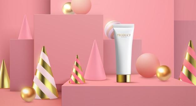 3 dイラスト、ピンクの背景の白い正方形のステージ上の水分日焼け止め広告