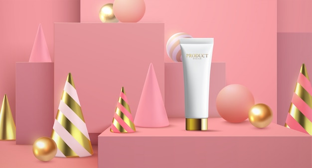 Moisture sunscreen ads on white square stage in 3d illustration, pink background