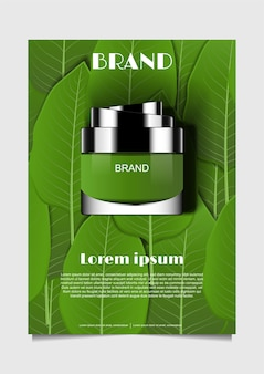Moisturizer with green leaves background
