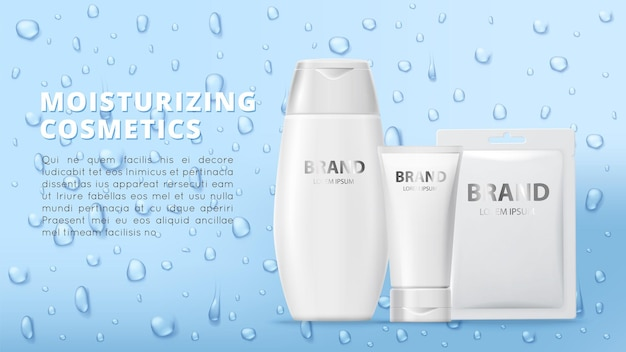 Moisturizing cosmetics banner. cream tubes, mask patch and realistic water drops