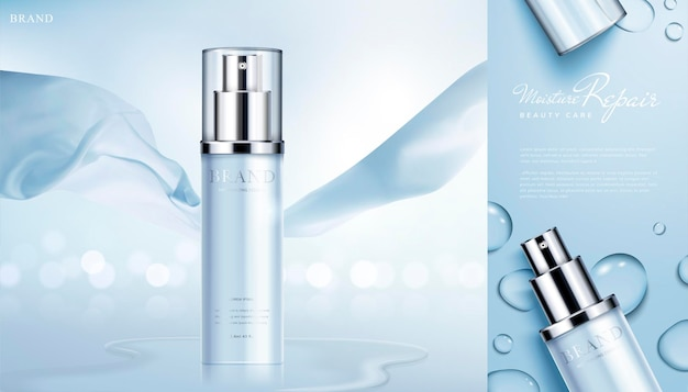Moisturizing skin care products banner with chiffon elements on glittering bokeh surface in 3d style