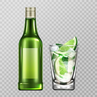 Mojito bottle and glass with liquor, lime and ice