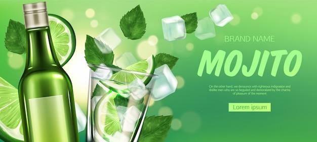 Bottiglia mojito e bicchiere con liquore, lime e ghiaccio