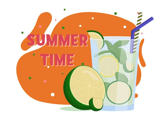 モヒート。夏の飲み物。フラットベクトルイラスト
