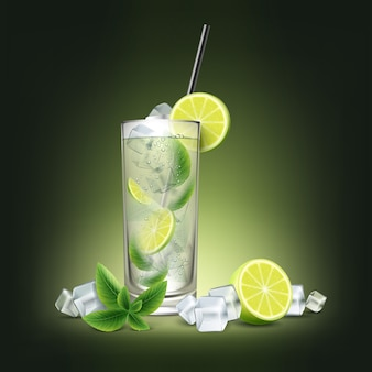Mojito cocktail with fresh sliced lime, ice cubes, mint sprig and black straw tube isolated on black background