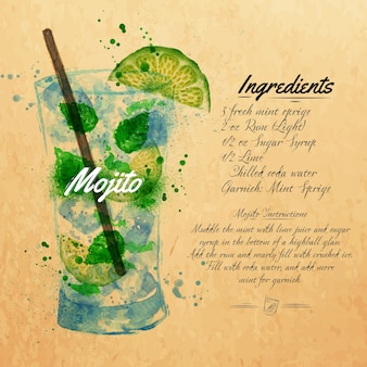 Mojito cocktails watercolor  kraft