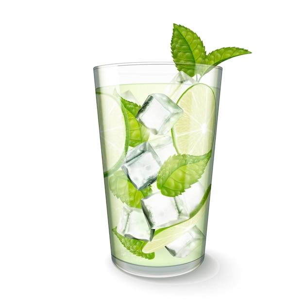 Напиток мохито в стеклянной чашке на белом фоне в 3d иллюстрации