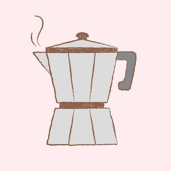 モカポットコーヒーイラスト、カフェ&ベーカリーデザインベクトル