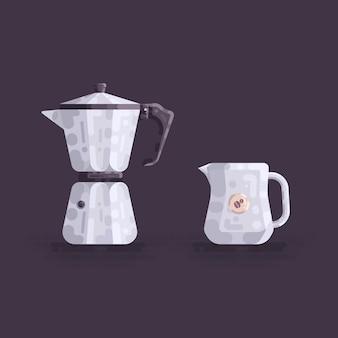 Moka pot coffee maker and jug vector illustration