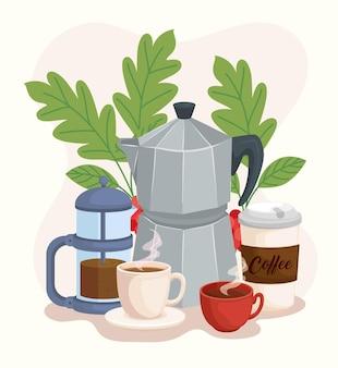 コーヒーアイコンとモカポット