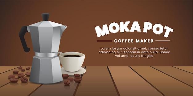 Горшки moka, кофеварка с кофейной чашкой и кофейными зернами на деревянном столе.