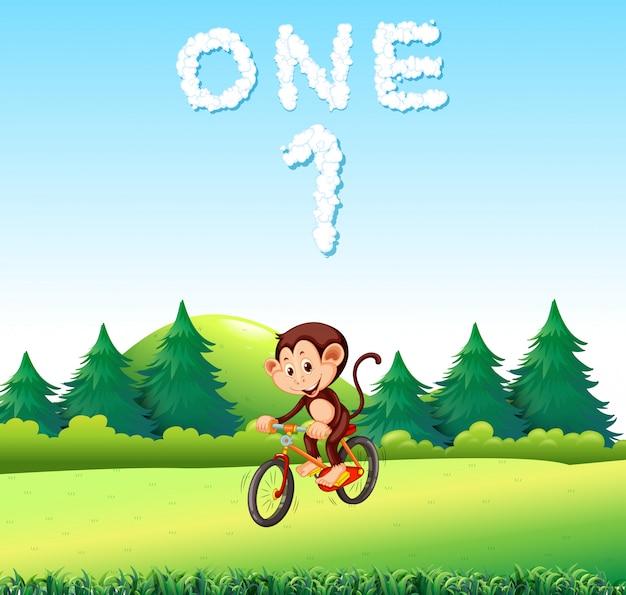 A mokey riding bicycle at the park