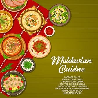 Молдавская кухня, обложка молдавского меню, обеды и ужины, вектор. традиционная молдавская или молдавская кухня, домашняя паста, салат из капусты и гусиный суп с лапшой на столе