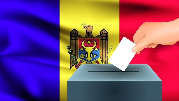 Флаг молдовы, мужская рука голосование с фоном идеи концепции флага молдовы