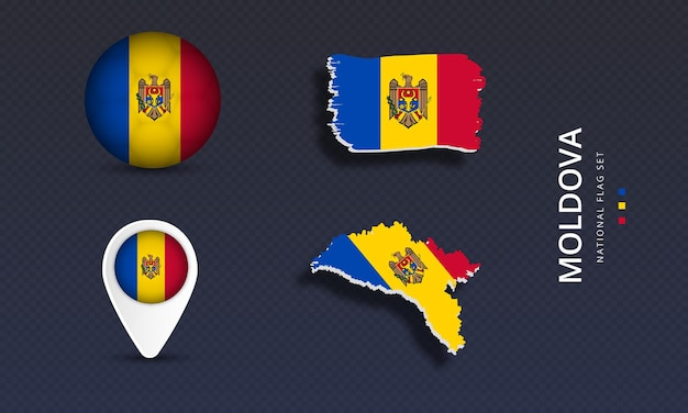 Moldova national country wave flag set
