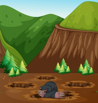 Mole digging hole in nature