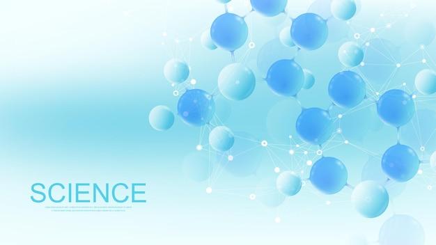 분자 3d 벡터 구조 분자 또는 원자.