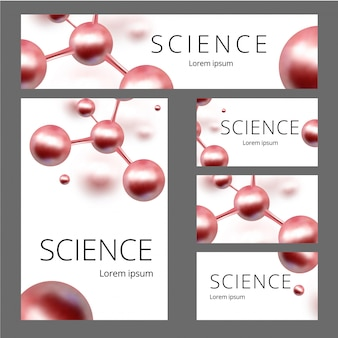 Molecular abstract identity set. banner, a4 blank, business card.  illustration. atoms.