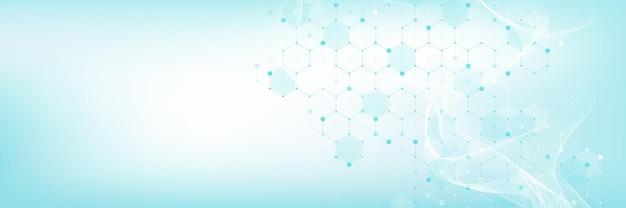 분자 추상 구조와 유전 공학, 의료 및 의학 배경. 과학 연구 배경입니다. 웨이브 흐름, 혁신 패턴입니다. 벡터 일러스트 레이 션.
