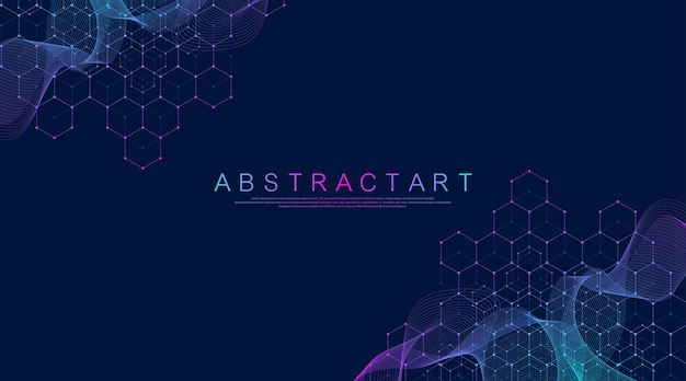 Molecular abstract structure and genetic engineering healthcare and medicine background scientific r...