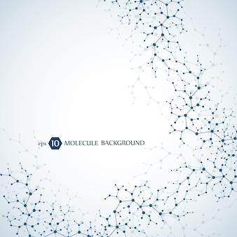 ニューロンと神経系の分子概念。科学的医学研究。粒子のある分子構造。