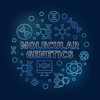 Молекулярная генетика синий круговой контур иллюстрации