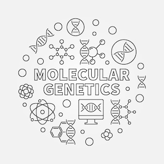 Molecular genetics round concept outline icon illustration