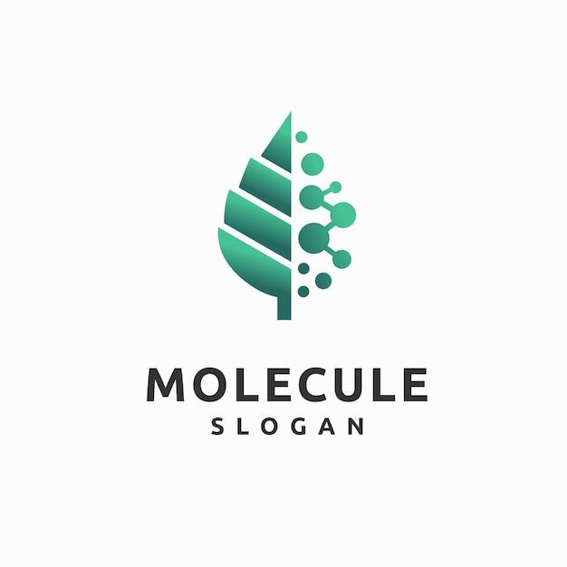Molecular logo with leaf concept