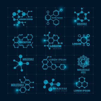 Molecular logo with shine effect. chemistry dna molecule scientific structure atom icons  set