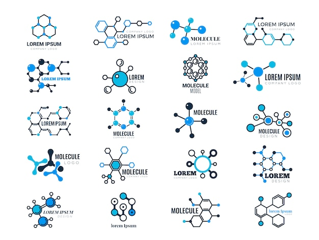 Molecular logotypes. evolution concept formula chemistry genetic technology medical information node cell