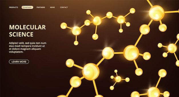 Molecular science landing page. oil compound molecules web page. scientific research cosmetology medicine banner