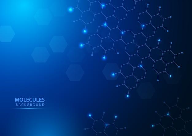 Молекулярная структура фон науки и техники иллюстрации