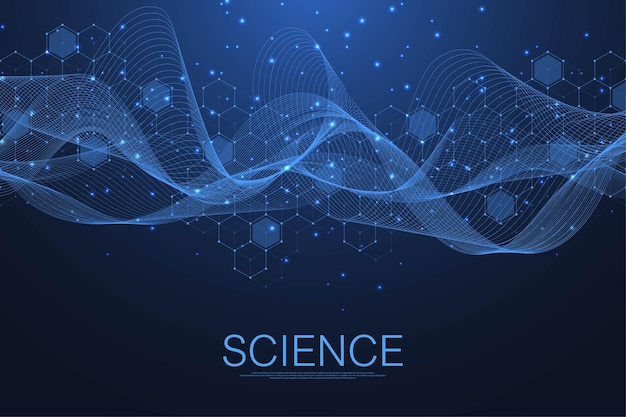 Molecular structure background. science template wallpaper or banner with a dna molecules. asbtract molecule background with hexagons, wave flow. vector illustration.