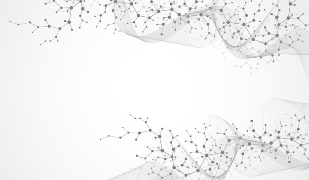 Molecular structure background. science template wallpaper or banner with a dna molecules. asbtract scientific molecule background. wave flow, innovation pattern. vector illustration.