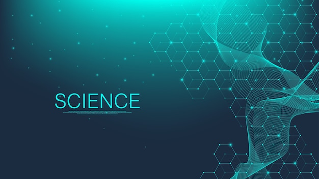 Фон молекулярной структуры. обои шаблон науки или баннер с молекулой днк