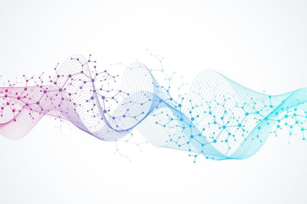 분자 구조 배경입니다. dna 분자가 있는 과학 템플릿 벽지 또는 배너입니다. 육각형, 파도 흐름으로 asbtract 분자 배경입니다. 벡터 일러스트 레이 션.