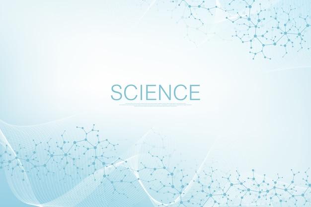 분자 구조 배경. dna 분자가있는 과학 템플릿 벽지 또는 배너. 육각형, 웨이브 흐름과 asbtract 분자 배경.