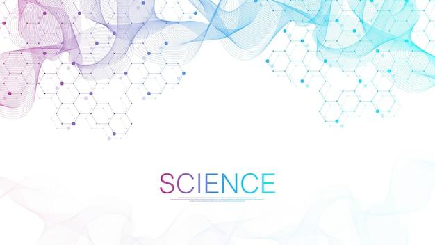 Фон молекулярной структуры. шаблон науки