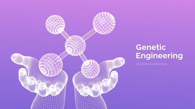 Молекулярная структура. днк, атом в руках. молекулы и химические формулы.