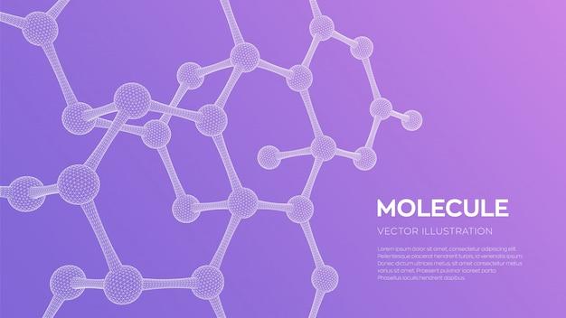 분자 구조. dna, 원자, 뉴런. 분자 및 화학식.