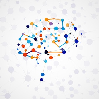 Molecular structure in the form of brain, futuristic illustration
