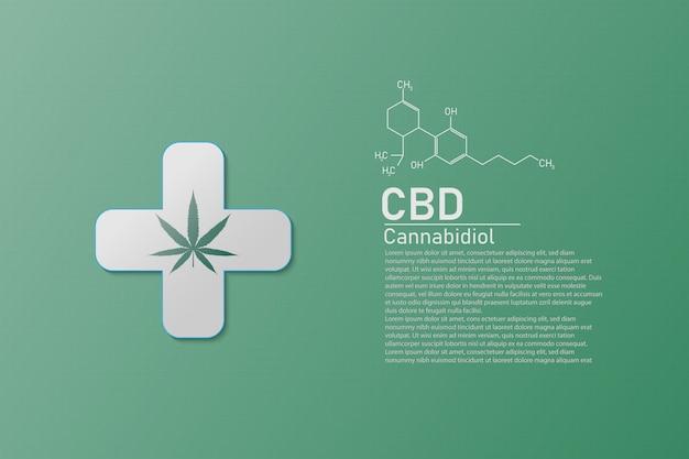 式cbdの分子構造医学化学式大麻、ベクトルイラスト