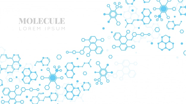 Молекулярная структура. исследования в области медицины, днк или химии. фон шаблона презентации биотехнологии