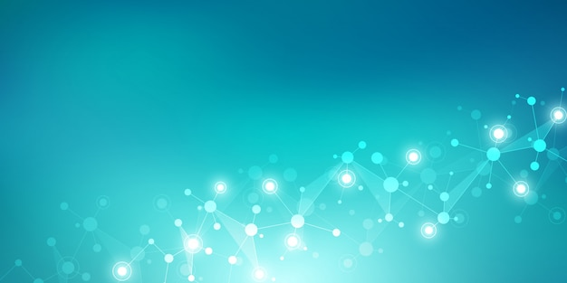 분자 구조와 신경 네트워크. 분자 Dna 및 유전자 연구. 프리미엄 벡터