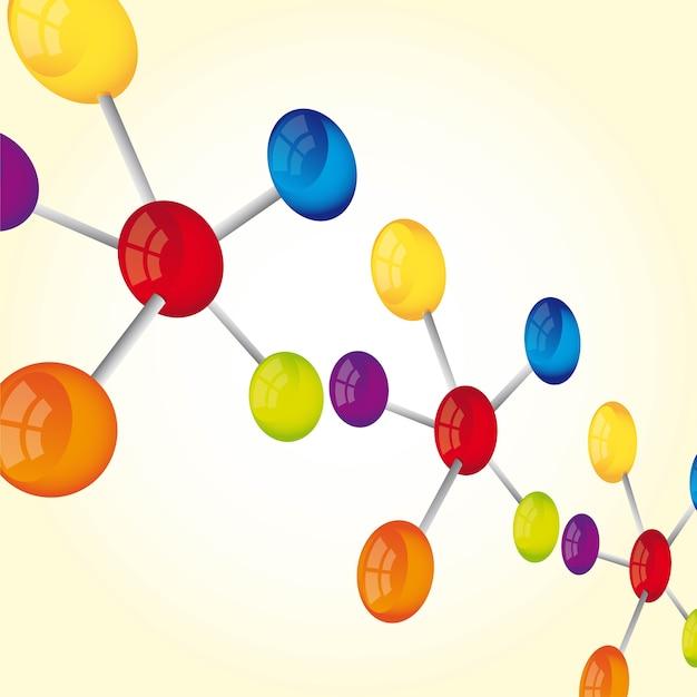 노란색 배경 벡터에 관점 분자