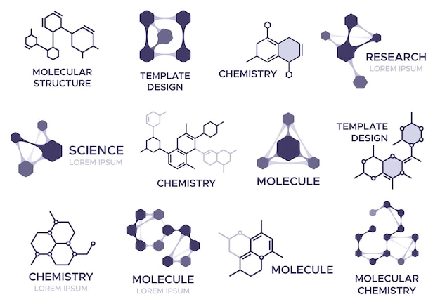 Molecule badges set.