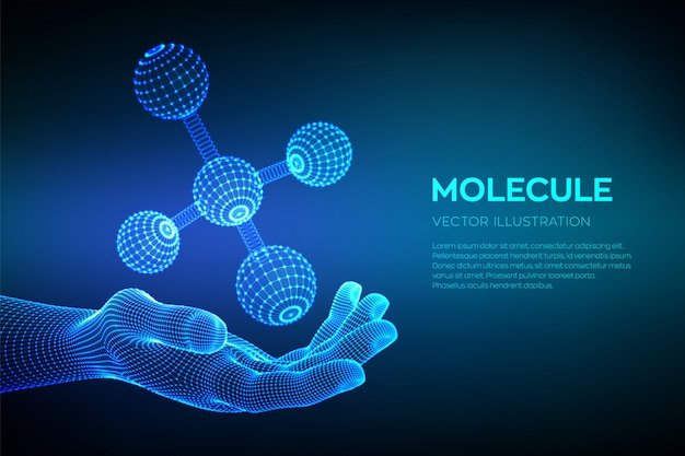 Molecule in hand. dna, atom, neurons. molecules and chemical formulas.