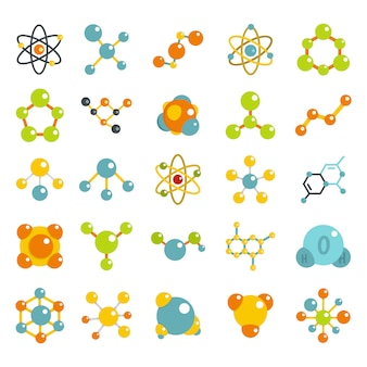 Molecule icon set. flat set of molecule vector icons collection isolated