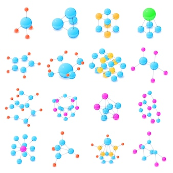 Molecule icons set. isometric illustration of 16 molecule vector icons for web